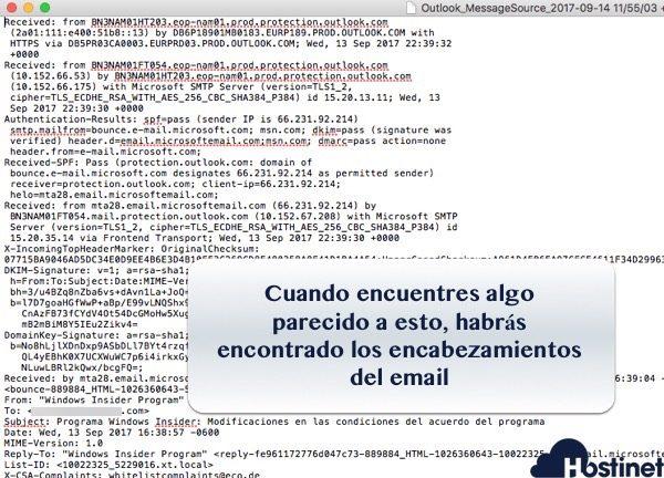encabezados de un email cualquiera