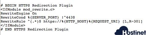 codigo https redirection en archivo htaccess