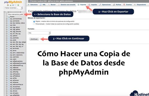 Como hacer una copia seguridad base datos phpmyadmin