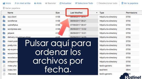 fecha modificacion plugins en el Administrador de Archivos en cPanel