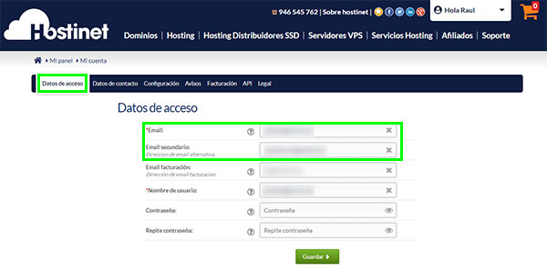 Hostinet Datos Acceso Emails
