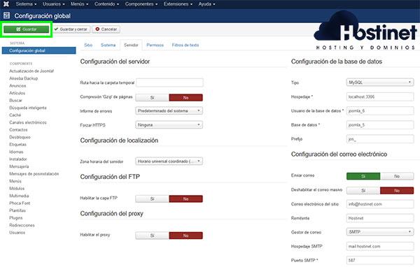 joomla servidor configuración email SMTP Guardar