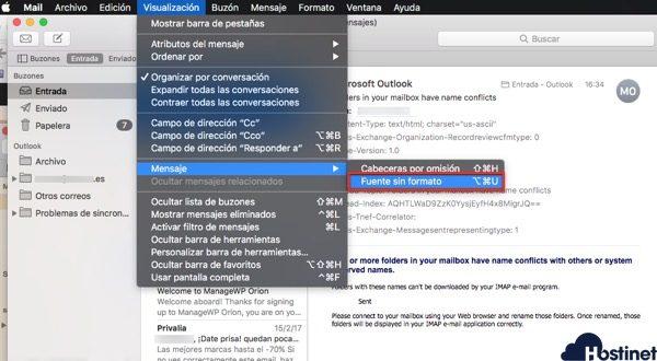 Apple Mail macOS encontrar encabezados email