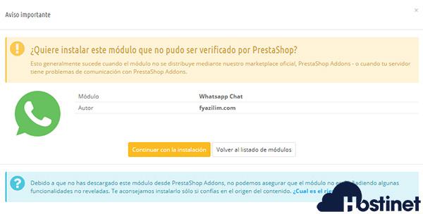 PrestaShop 1.6 instalar whatsapp chat module aviso