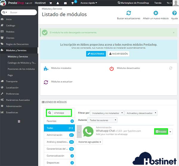 PrestaShop 1.6 instalar whatsapp chat module 2