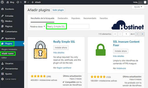 WordPress - Plugins - Añadir nuevo - Really Simple SSL