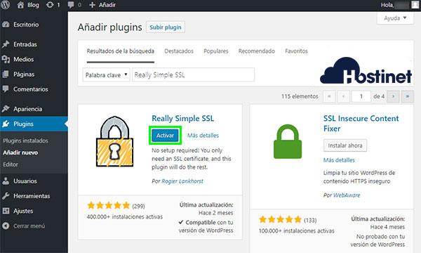 WordPress - Really Simple SSL Activar