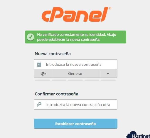 anadir nueva contrasena en cPanel