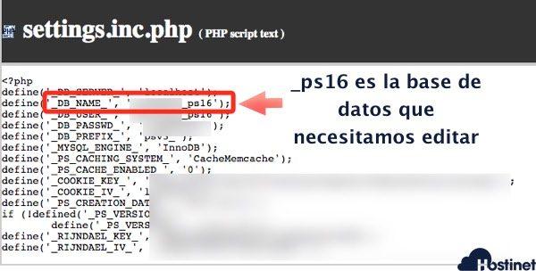 base datos prestashop congfiguracion archivo settings.inc.php
