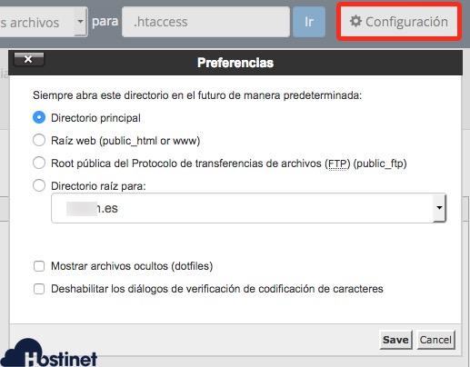 configuracion administrador archivos cpanel hostinet