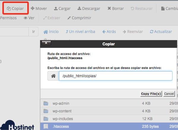 copia archivos administrador archivos cPanel