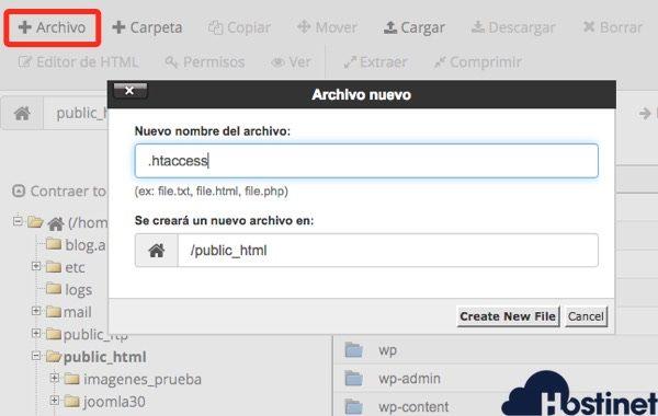 crear archivos administrador archivos cpanel