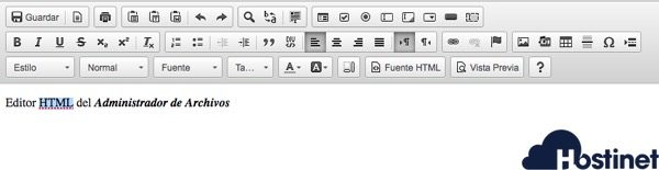 editor html administrador archivos cPanel