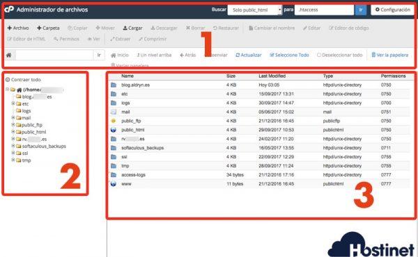 estructura administrador archivos cpanel