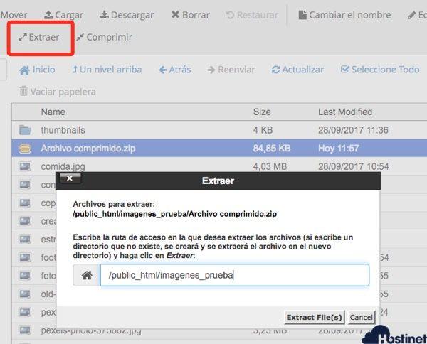 extraer administrador archivos cPanel