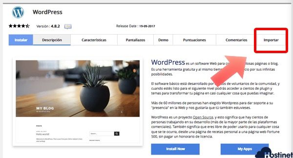 importar wordpress softaculous - Hostinet