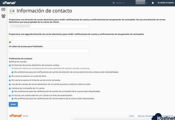 informacion contacto opciones cPanel