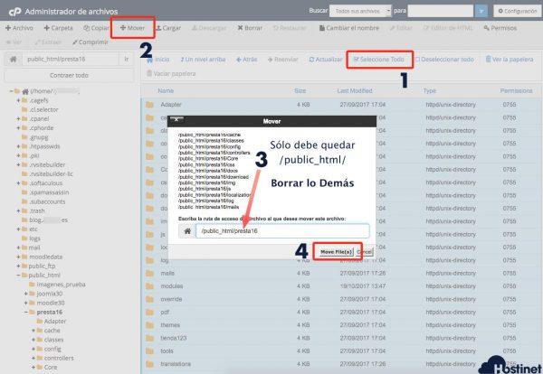 mover archivos prestashop con el administrador de archivos de cpanel