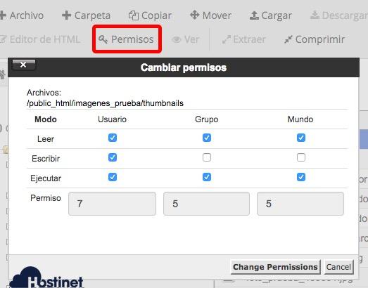 permisos administrador archivos cPanel