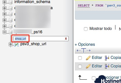 phpmyadmin filtrado shop url tabla PrestaShop