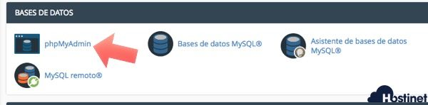 phpmyadmin icono nuevo cPanel