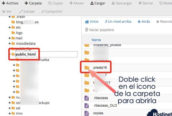 public presta16 administrador archivos cpanel