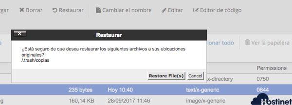 restaurar archivos administrador archivos cPanel