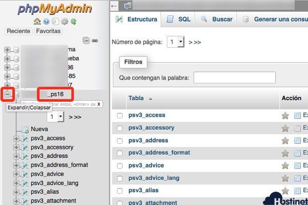 tablas bases de datos prestashop desde phpmyadmin