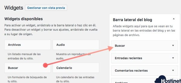 widget buscar barra lateral WordPress