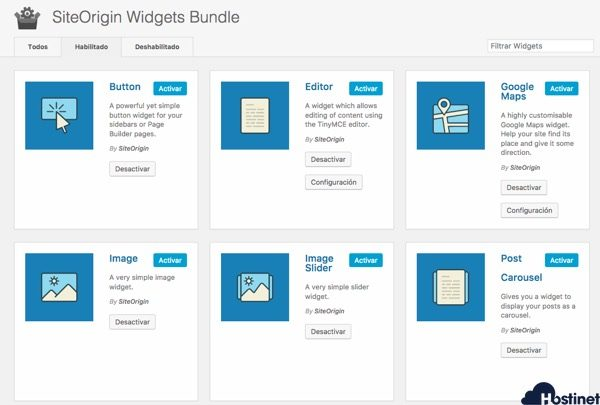 widgets habilitados siteorigin widgets bundle WordPress
