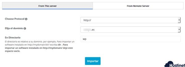 wordpress importado softaculous - Hostinet