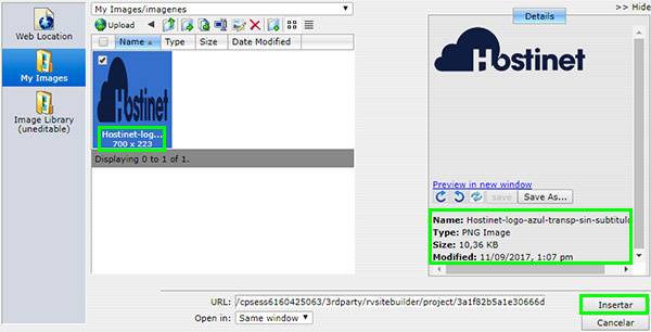 RVsitebuilder Insertar Detalles Imagen
