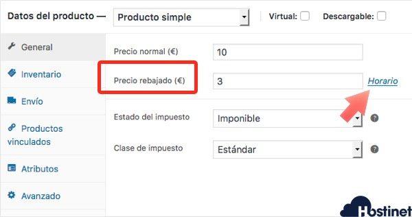 Cómo abrir horario producto woocommerce para aplicar descuento