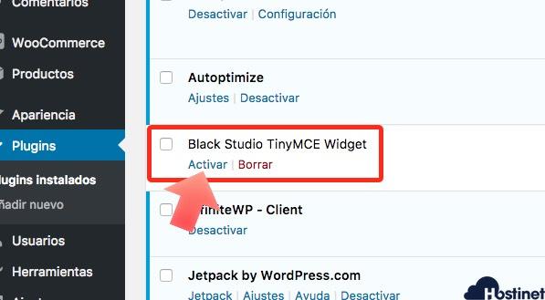 activar Black Studio TinyMCE Widget en WordPress