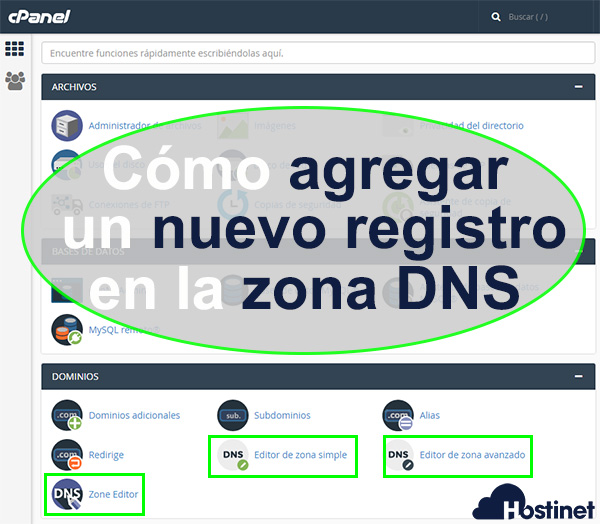 Cómo agregar un nuevo registro en la zona DNS