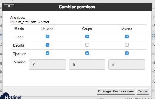 Cómo cambiar los permisos de un archivos desde cPanel