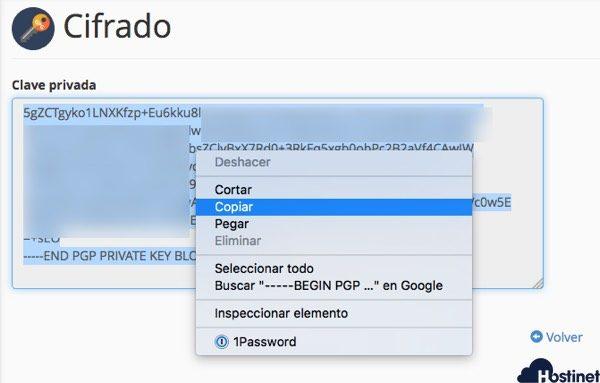 copiar clave publica cpanel GPG