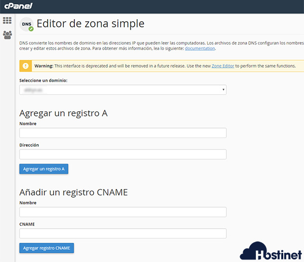 cpanel editor zona simple