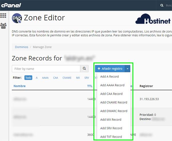 cpanel zone editor añadir registro