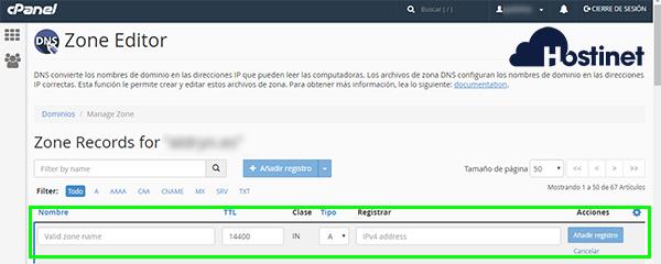 cpanel zone editor añadir registro 2