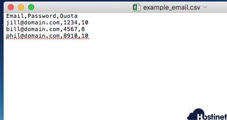 achivo csv para importar email en cPanel