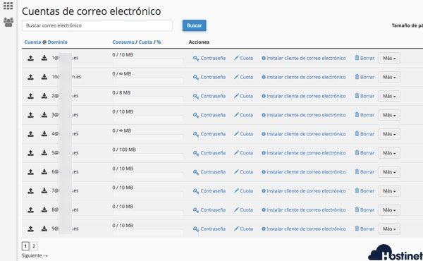 cuentas  de correo electrónicocreadas importadas desde cPanel