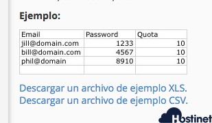 descargar archivos muestra importar direcciones email en cPanel