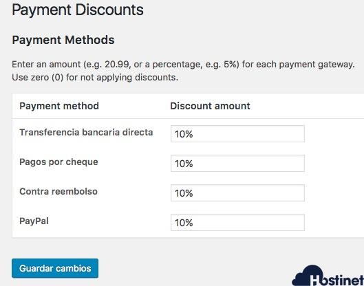 descuentos 10% añaadidos metodo pago WooCommerce Black Friday