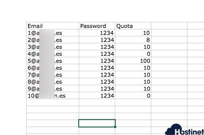 excel importar emails en cPanel