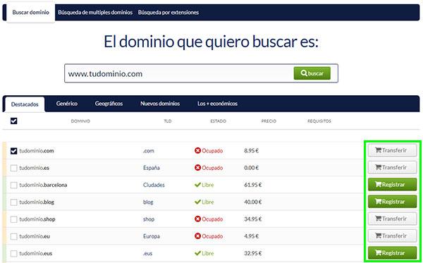 hostinet buscador dominios transferir registrar