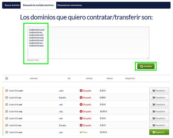 hostinet buscador dominios multiple