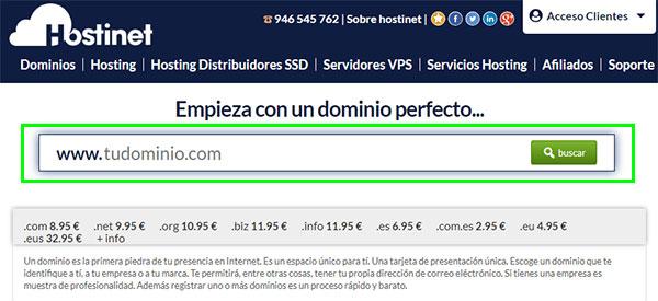 hostinet web principal buscador dominios