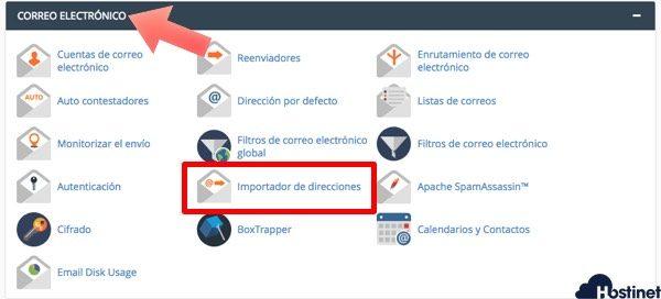 importador direcciones icono de cPanel