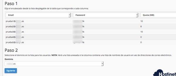 importar emails csv confirmacion Hostinet